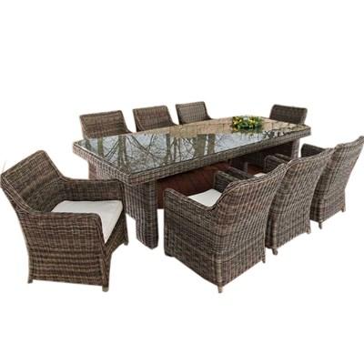 Conjunto Muebles de Jardín Lujo ArenaNES XL, en Poly Ratán, color gris moteado