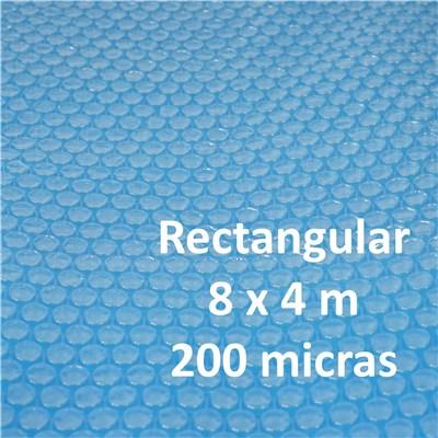 Cubierta Lona Térmica Piscina, dimensiones 8x4 metros, grosor: 200 micras, rectangular, en azul