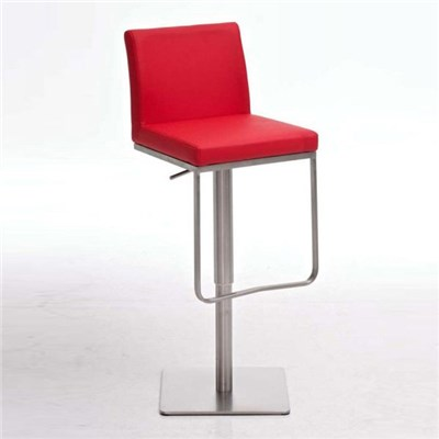 Taburete de diseño PANAMA, acero inoxidable, altura ajustable, color rojo