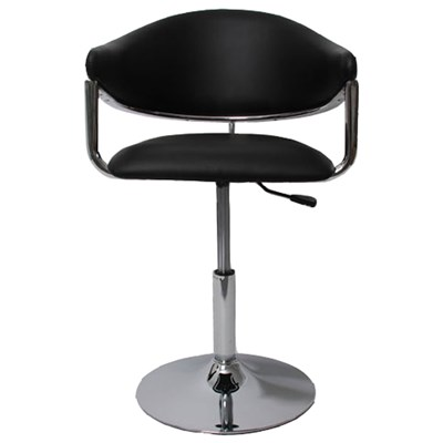 Silla / Taburete COMO, estructura metálica, en piel, color negro