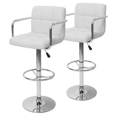 Conjunto de 2 taburetes de Bar / Cocina M59, ajustable en altura, en polipiel, color blanco