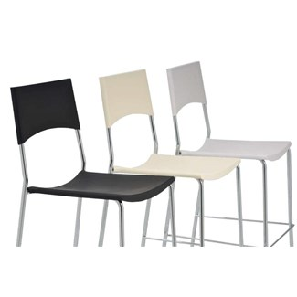 Taburete GENUA, dimensiones 113x41x41cm, apilable, color blanco