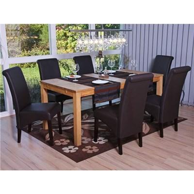 Lote 6 Sillas de Comedor TURIN, Gran estilo y calidad, tapizadas en Piel marrón y patas madera oscuras