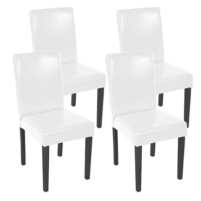 Lote 4 Sillas de Comedor LITAU, precioso diseño, piel Blanca brillante y patas negras