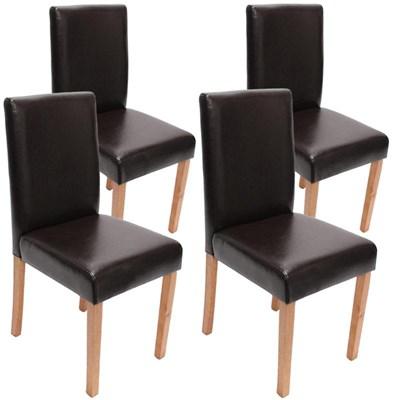 Lote 4 Sillas de Comedor LITAU, precioso diseño, en piel negra patas claras