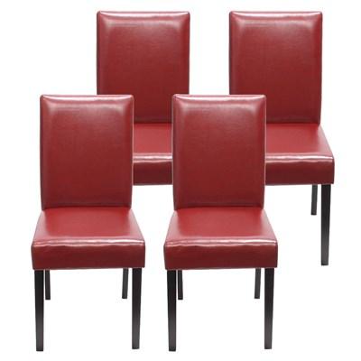 Lote 4 Sillas de Comedor LITAU, precioso diseño, piel Roja patas negras