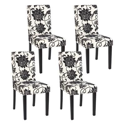 Precioso conjunto de 4 Sillas de Comedor DALI, Motivos florales, patas negras