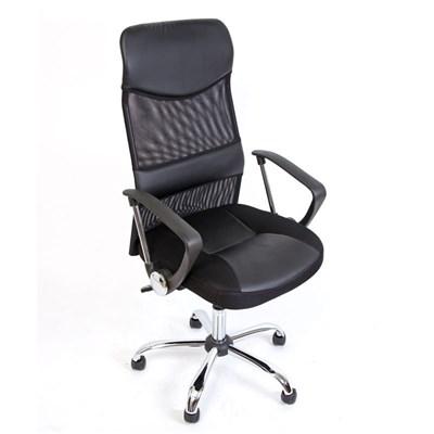 Silla de Oficina OSLO, gran respaldo en malla y piel, 100% transpirable, color negro
