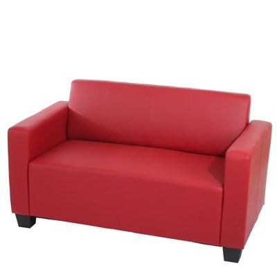 Sofa Modular LYON de 2 plazas, Gran acolchado, tapizado en piel color rojo