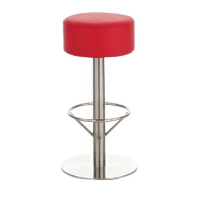 Taburete para Bar o Cocina C34, estructura en acero, gran acolchado, en rojo