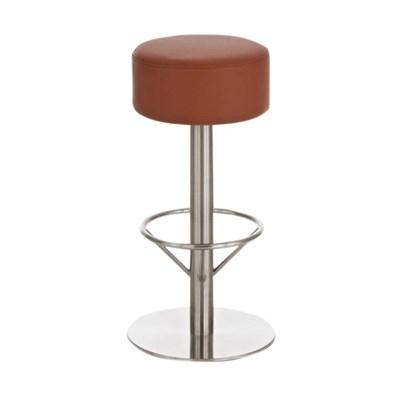 Taburete para Bar o Cocina C34, estructura en acero, gran acolchado marrón claro