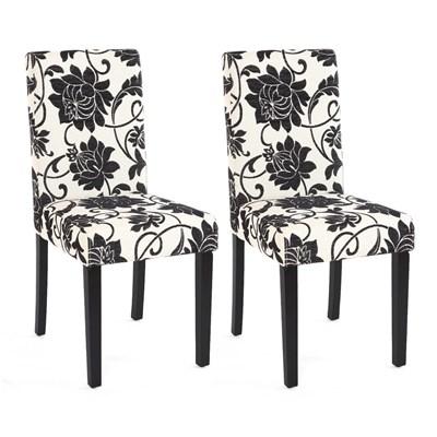 Conjunto de 2 Sillas de Comedor DALI, precioso diseño, Flores Negras patas negras