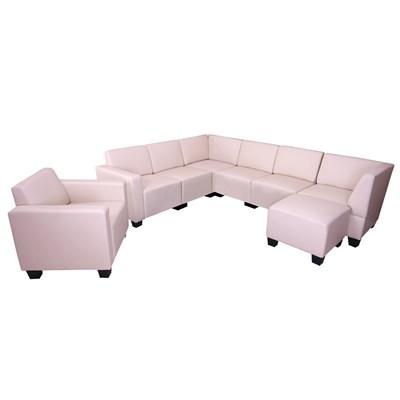 Sofa Modular LYON en 6 piezas + 1 Sillón auxiliar + Otomano, Gran acolchado, tapizado en piel crema