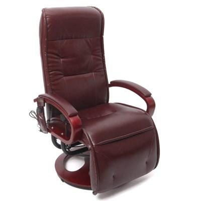 Sillón Relax reclinable ARLES II, con función masaje en Piiel color Burdeos