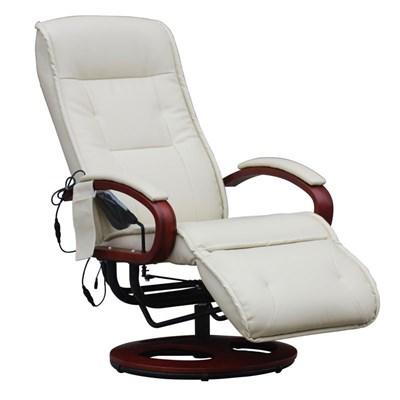 Sillón Relax reclinable ARLES II, con función masaje en Piiel color crema