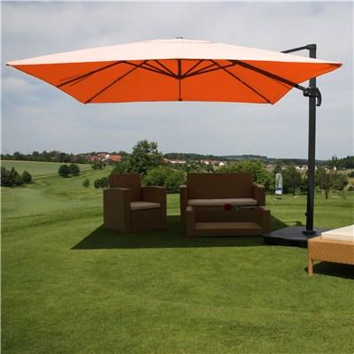 Sombrilla / Parasol IDRA CON SOPORTE, de 3 x 3 metros, Terracota, Ajustable, Cruz de suelo Incluida