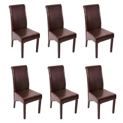 Conjunto de 6 Sillas de Comedor M37, en cuero color marrón oscuro y patas en madera oscuras
