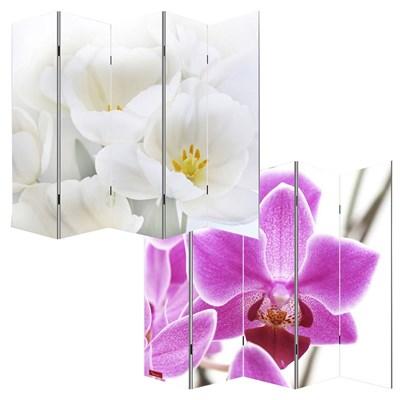 Biombo separador M68, dimensiones 180x200cm, decorado ambas caras, diseño Flores