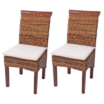 Lote 2 Sillas de comedor o Jardín M45 en madera mimbre marrón y patas claras (cojines incluidos)