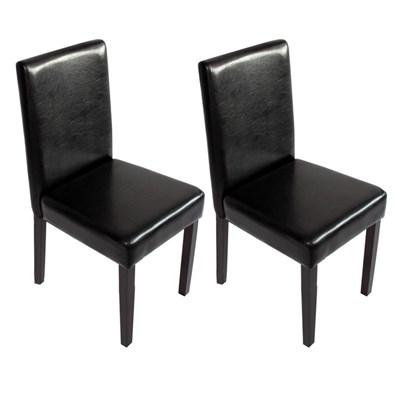 Lote 2 Sillas de Comedor M01, en piel color Negro y patas oscuras