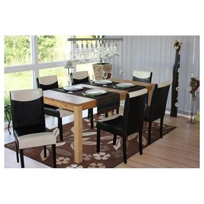 Conjunto 6 Sillas de Comedor LITAU en madera y polipiel color crema/negro y patas oscuras