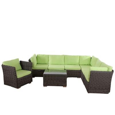 Conjunto Poly Rattan 6 Plazas +1, Sistema Modular, Estructura gris Natural, Cojines en Verde