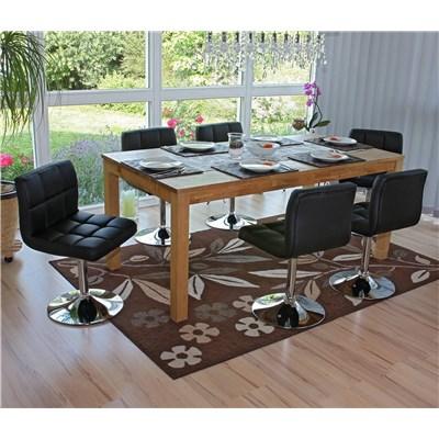 Conjunto 6 sillas de Cocina / Comedor GENOVA, Giratorias, Muy cómodas, Color Negro