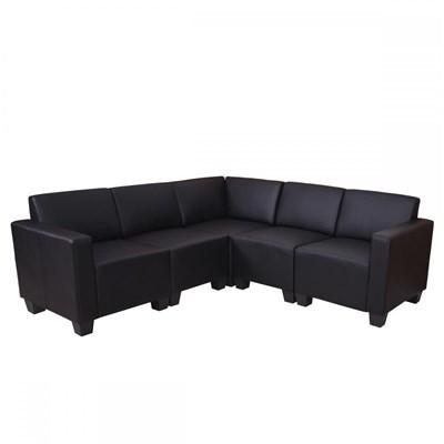 Sofa Modular LYON en 5 piezas, Gran acolchado, tapizado en Piel sintetica Negro