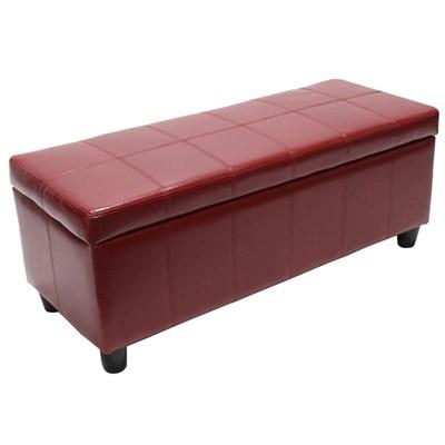 Arcón banco KIEN muy confortable 112x45x45cm Piel Roja