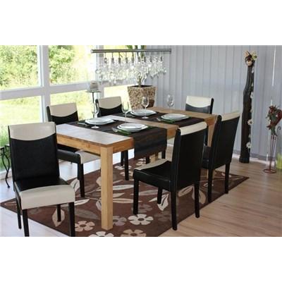 Lote 6 Sillas de Comedor LITAU, precioso diseño, Piel Negra y Crema y patas Oscuras