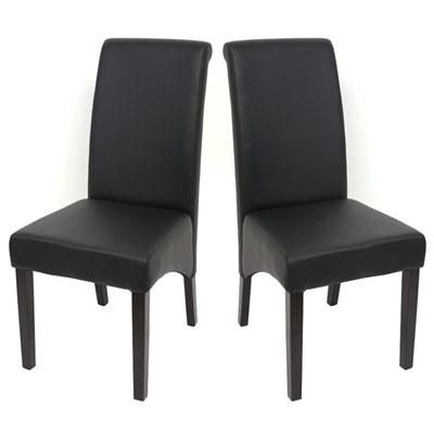 Lote 2 Sillas de Comedor TURIN, Gran estilo y calidad, tapizadas en Piel negra y patas madera oscuras