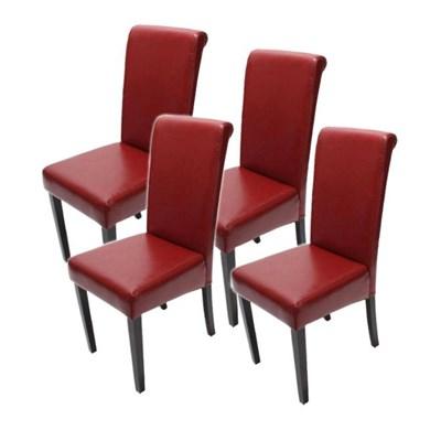 Lote 4 Sillas de Comedor NOVARA II, en Piel Roja, patas oscuras