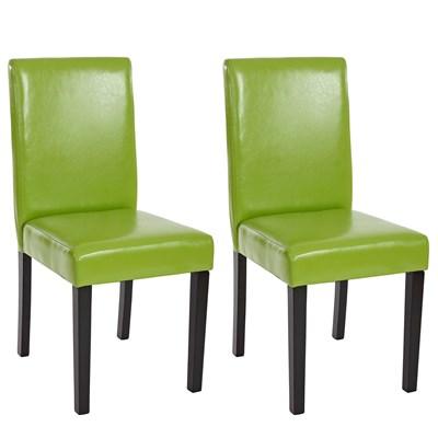 Lote 2 Sillas de Comedor LITAU, en piel Verde Pistacho y patas Oscuras