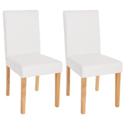 Lote 2 Sillas de Comedor LITAU, en piel Blanca Mate y patas Claras