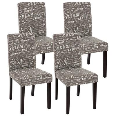 Precioso conjunto de 4 Sillas de Comedor DALI, Diseño Moderno, tela Gris y patas oscuras