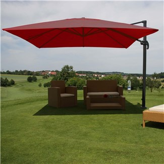 Sombrilla / Parasol IDRA, de 3 x 3 metros, color Burdeos , Ajustable, Cruz de suelo Incluida