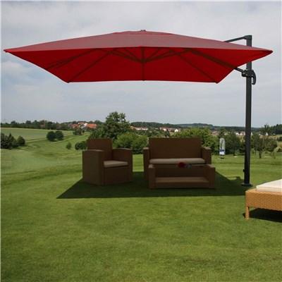 Parasol Sombrilla GIRATORIA IDRA, de 3 x 3 metros, color Burdeos, Ajustable, Cruz de suelo Incluida
