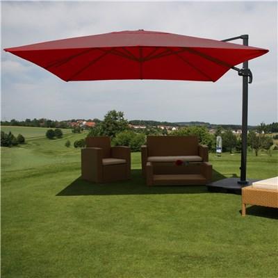 Sombrilla / Parasol IDRA CON SOPORTE Y GIRATORIA, de 3 x 3 metros, color Burdeos , Ajustable