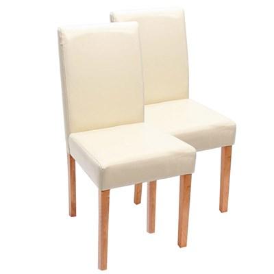 Conjunto de 2 Sillas de Comedor LITAU, Bonito diseño, Piel crema patas claras
