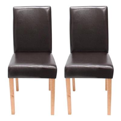 Conjunto de 2 Sillas de Comedor Litau, en piel color Marrón y patas claras