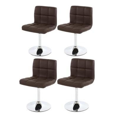 Conjunto de 4 sillas de Comedor GENOVA, Giratorias, Muy cómodas, Color Marrón