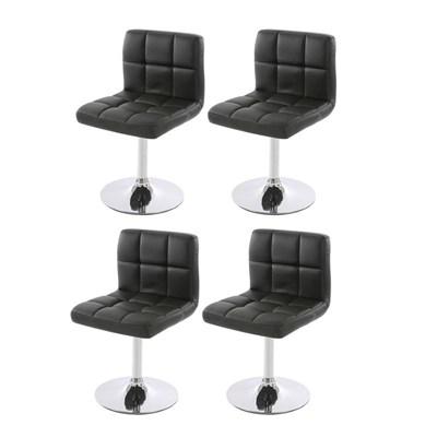 Conjunto 4 sillas de Cocina / Comedor GENOVA, Giratorias, Muy cómodas, Color Negro
