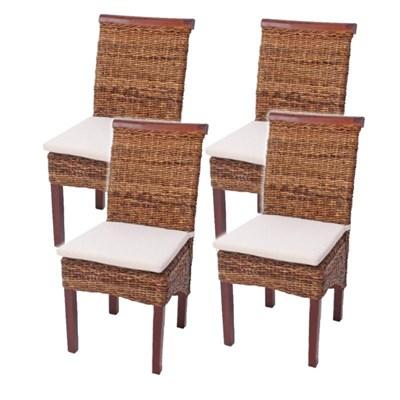 Lote 4 Sillas de comedor o Jardín M45 en madera mimbre marrón y patas madera (cojines incluidos)