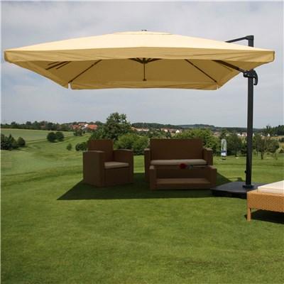 Sombrilla / Parasol APOLO CON SOPORTE Y GIRATORIA, de 3 x 3 metros, color Crema, Ajustable