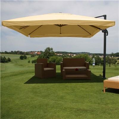 Parasol Sombrilla GIRATORIA APOLO, de 3 x 3 metros, en Crema, Ajustable, Cruz de suelo Incluida