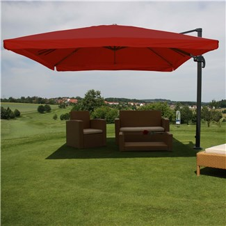 Parasol Sombrilla GIRATORIA APOLO, de 3 x 3 metros, color Burdeos, Ajustable, Cruz de suelo Incluida
