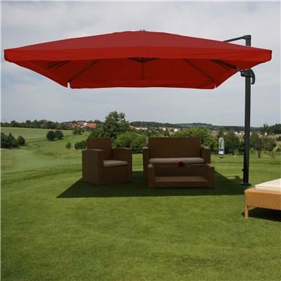 Sombrilla Aluminio APOLO GIRATORIA, 3 x 4 metros, Rojo Burdeos, Ajustable, Cruz de suelo