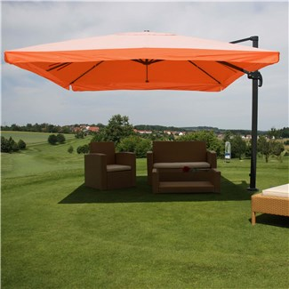 Parasol Sombrilla GIRATORIA APOLO, de 3 x 4 metros, color Terracota, Ajustable, Cruz de suelo Incluida