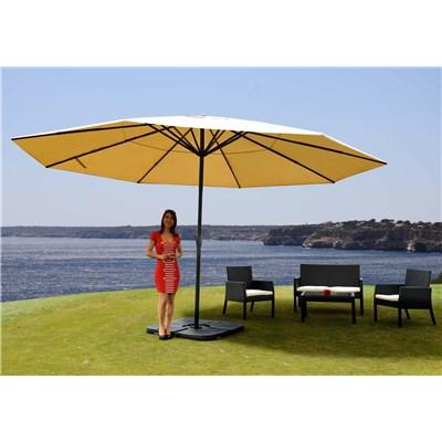 Sombrilla MISTY en crema, 5 m Diámetro, Con base 4 módulos, Altura Ajustable