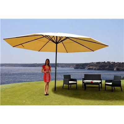 Sombrilla MISTY color crema, 5 m Diámetro, Base Fija, sin Cenefa, Altura Ajustable, Muy Resistente